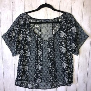 American Eagle Floral Blouse Top Black White Small